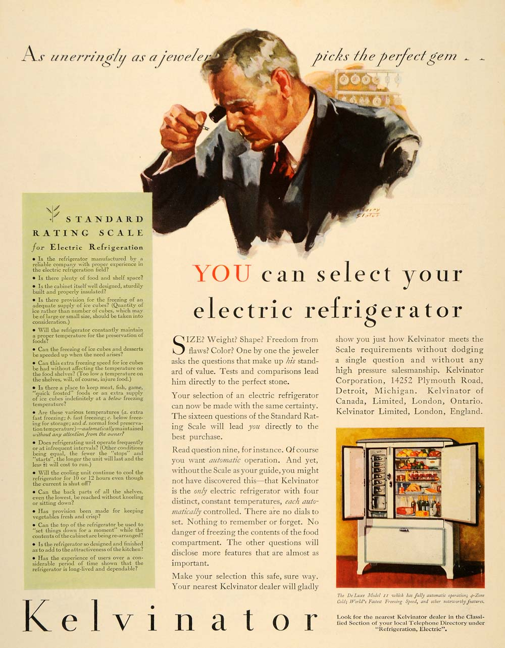 1932 Ad Refrigerator Kelvinator Electric Slater Jewels - ORIGINAL MX4