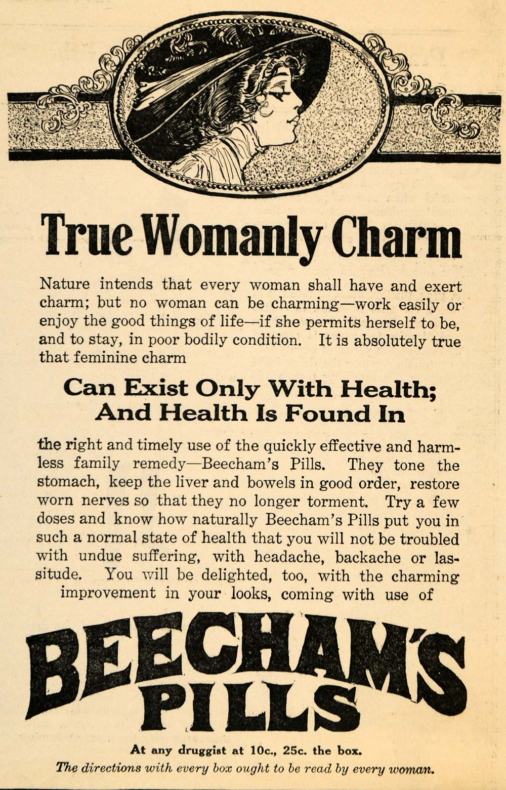1911 Ad True Womanly Charm Beechams Pills Remedy Health - ORIGINAL MX5