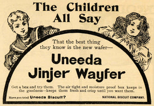 1900 Ad Uneeda Jinjer Wayfer National Biscuit Company - ORIGINAL ADVERTISING MX5