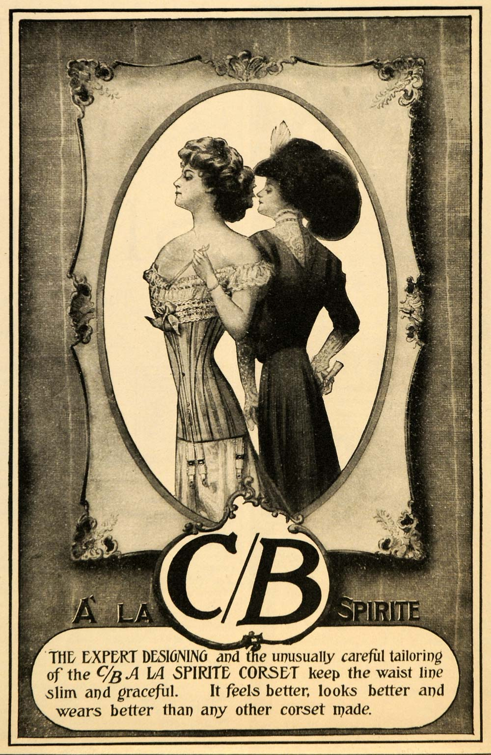 1909 Ad C/B A La Sprite Corset Fashion Accessory Dress - ORIGINAL MX5