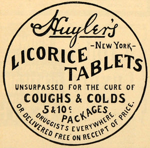 1901 Ad Huyler's Licorice Tablets Cough Cold Drug Advertisement Advertising MX5