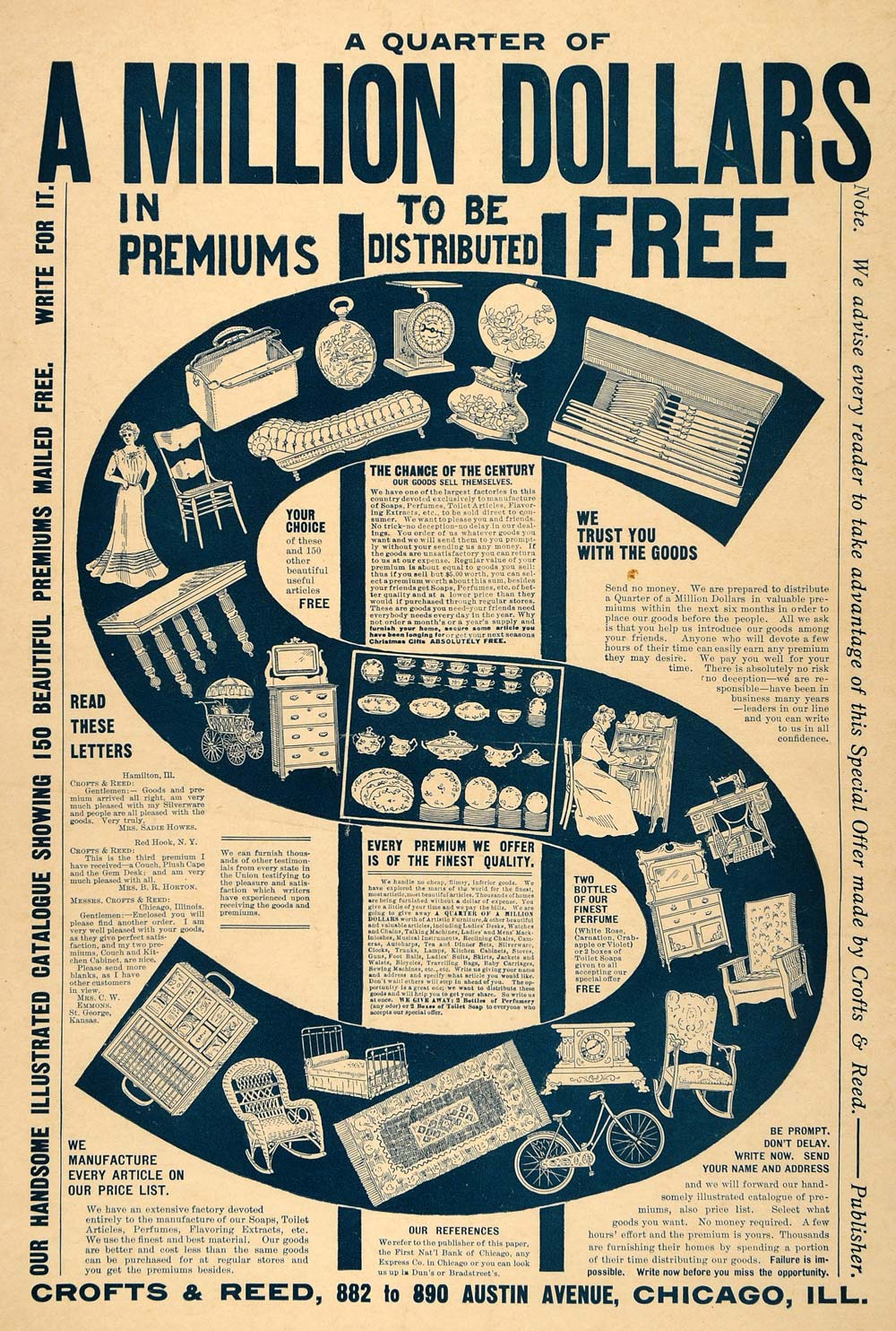 1901 Ad Crofts Reed Million Dollar Premium Goods Free Original Adver Period Paper