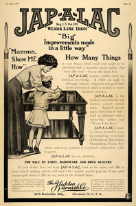 1909 Ad Glidden Varnish Jap-A-Lac Mama Wears Like Iron - ORIGINAL MX6