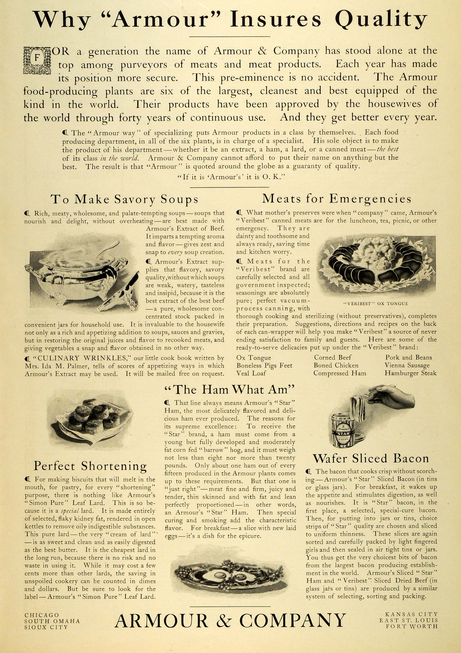 1906 Ad Armour Savory Extract Savory Soup Ox Tongue Star Wafer Sliced Bacon MX7