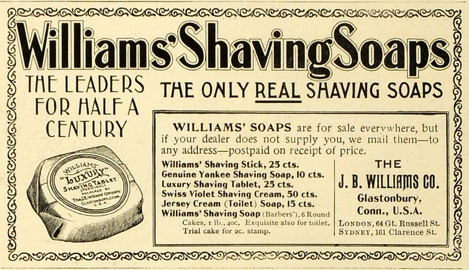 1898 Ad WiLLiams' Shaving Soap Luxury Tablet Swiss Violet Cleansing Products MX7
