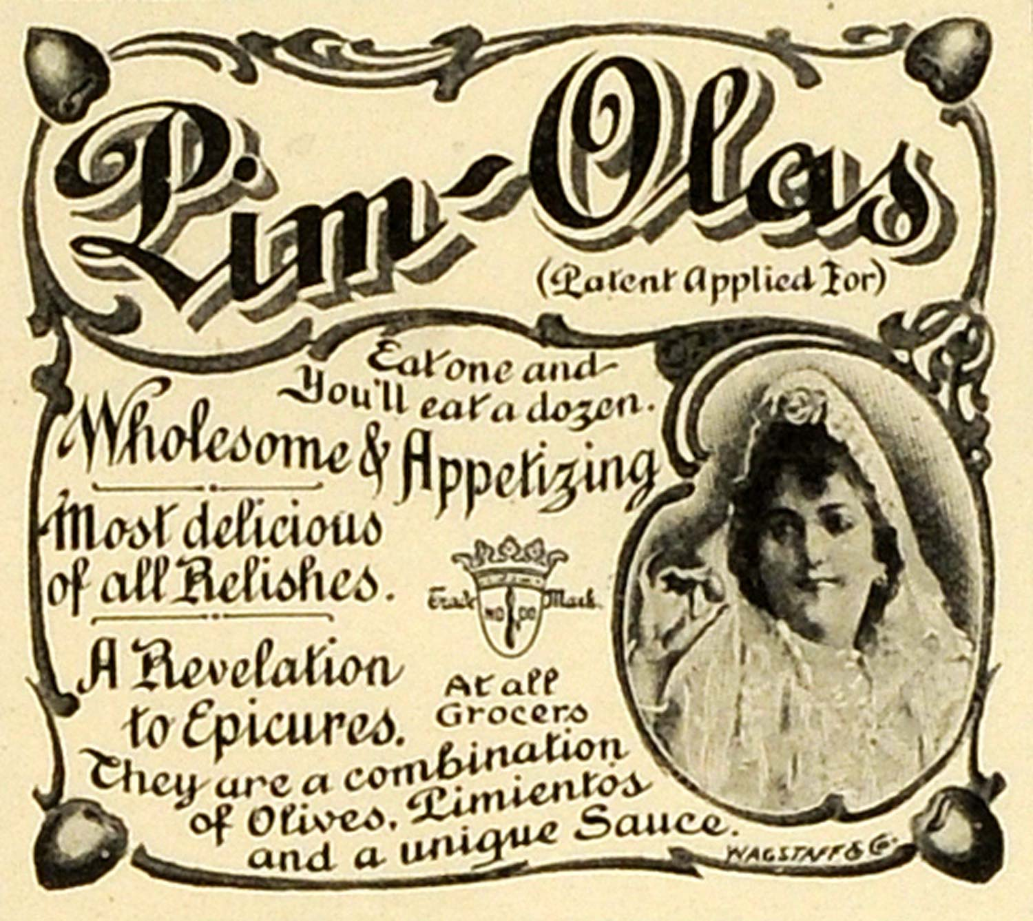 1898 Ad Pim-Olas Sauce Queen Olive Pimientos Appetizer Food Products Relish MX7