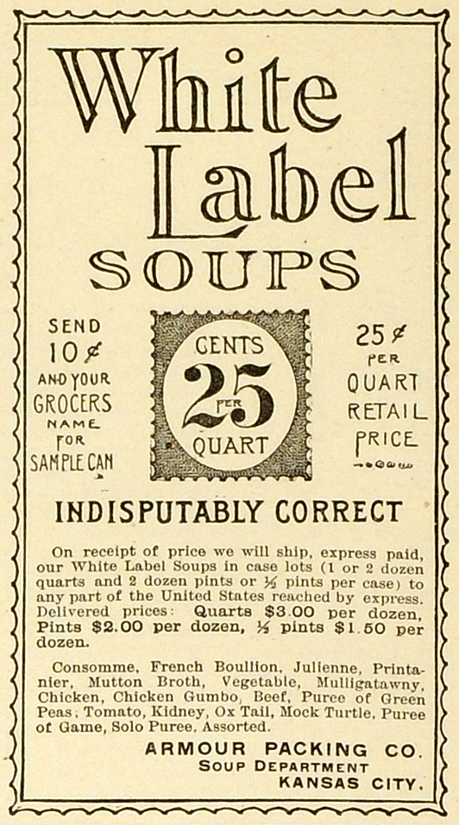 Vintage advertising art tagged soup period paper 1893 ad armour packing co kansas white label soups consomme bouillon stock mx7 thecheapjerseys Choice Image