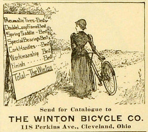 1893 Ad Winton Bicycle Co Pneumatic Tires Spring Saddles Special Bearing MX7
