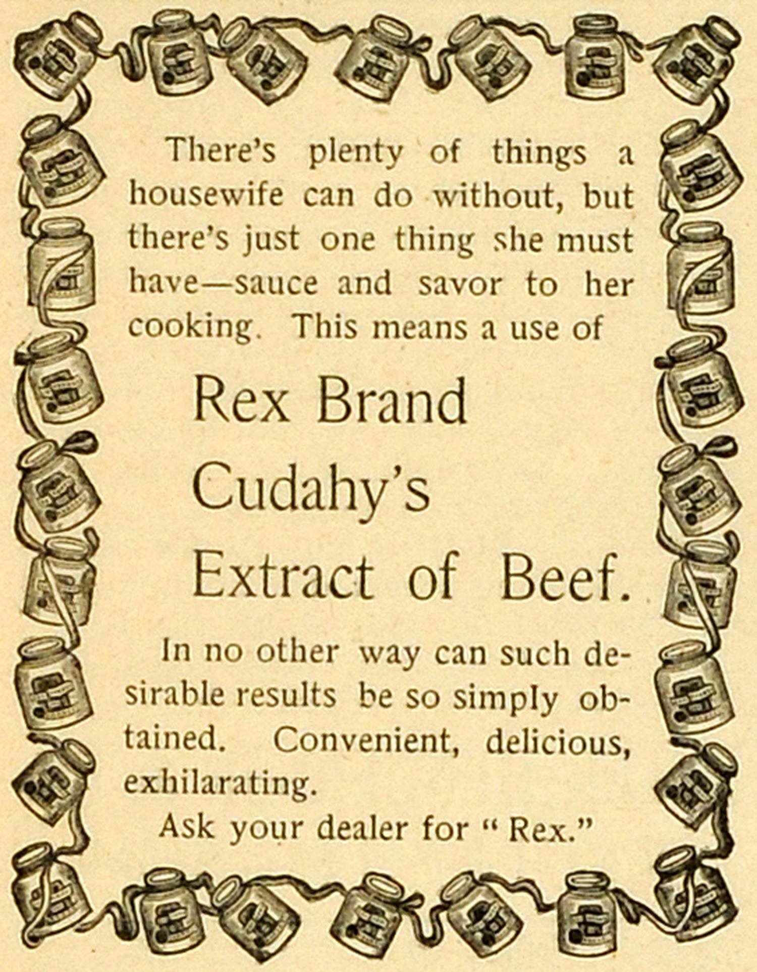 1893 Ad Rex Brand Cudahy's Extract Beef Soup Stock Cube Consomme Food MX7