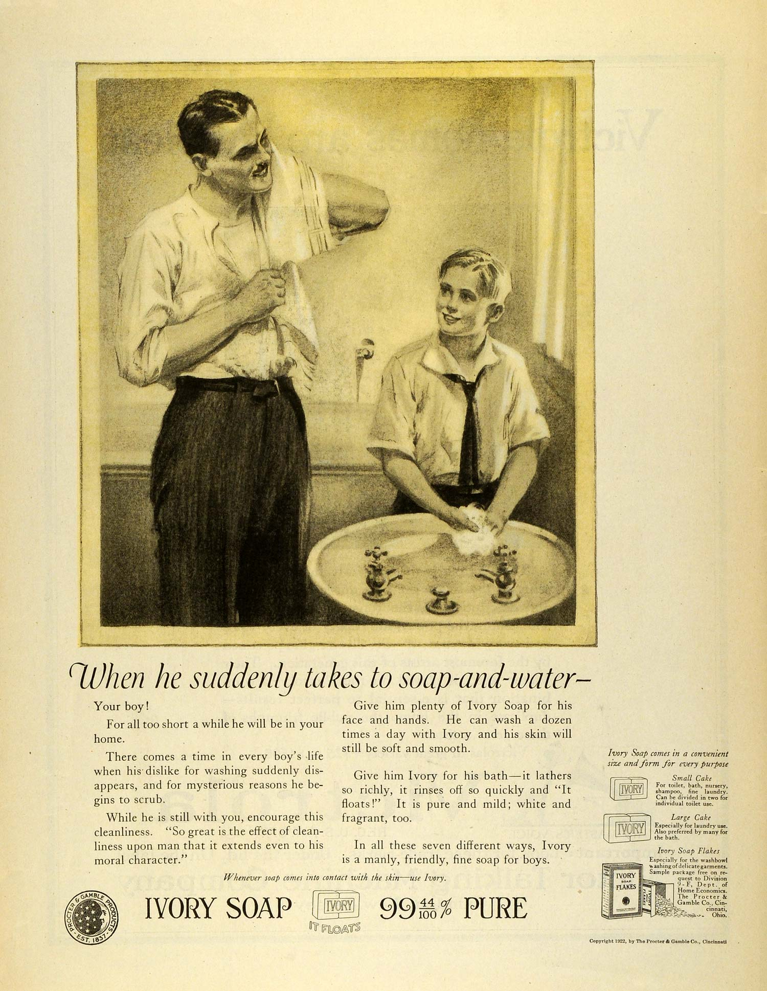 1922 Ad Procter Gamble Ivory Soap Boy Father Washing Sink Cleansing Faucet MX7