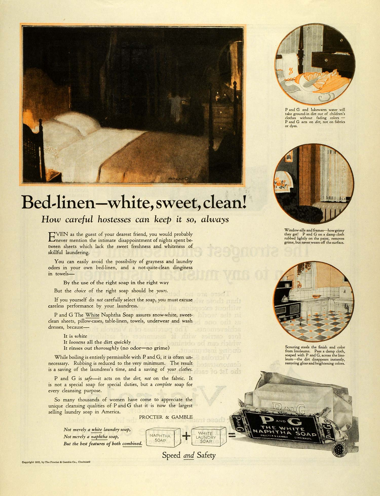 1922 Ad Procter Gamble P & G White Naptha Soap Bed Linens Sheets Laundry MX7