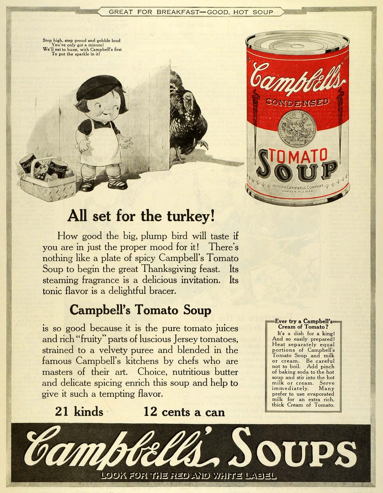 1922 Ad Joseph Campbell Condensed Tomato Soup Thanksgiving Turkey Child MX7