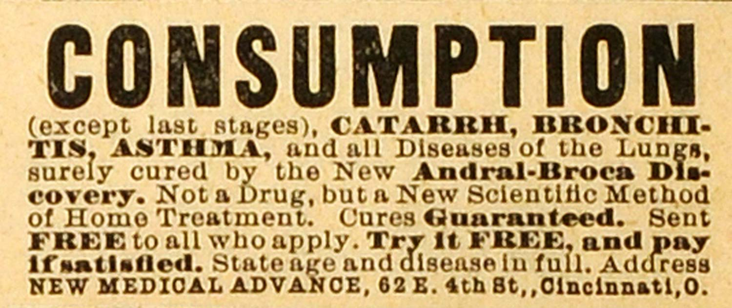1892 Ad New Medical Advance Consumption Treatment Catarrh Bronchitis Asthma MX7