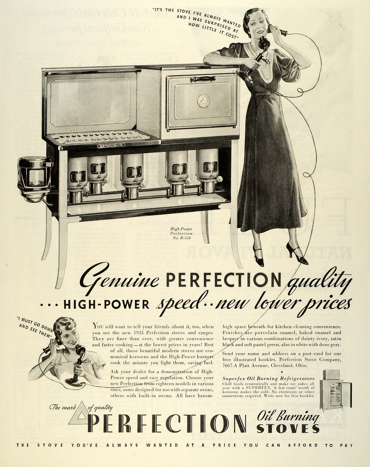 1933 Ad Perfection Oil Burning Stoves Household Appliances Housewife  Cooking MX7