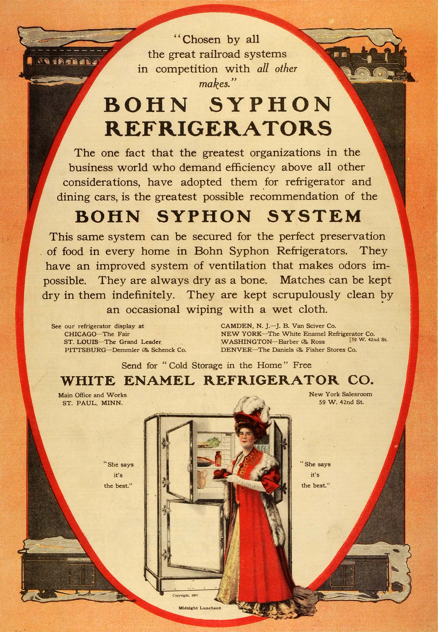 1909 Ad White Enamel Bohn Syphon Refrigerators Household Train Dining MX7