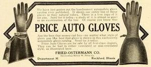 1909 Ad Price Auto Motoring Motorist Gloves Fried Ostermann Rockford MX7