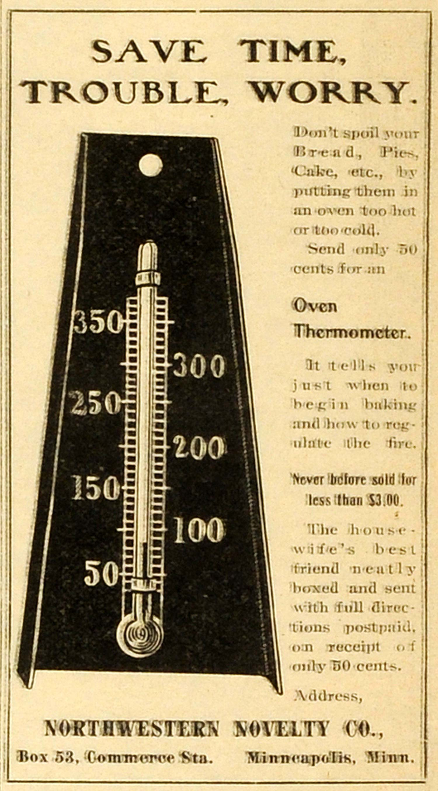 1904 Ad Northwestern Novelty Oven Baking Thermometer Minneapolis Housewife  MX7