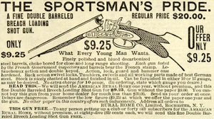 1888 Ad Sportsman's Double Barreled Breach Loading Shotgun Rural Home Co MX7 - Period Paper