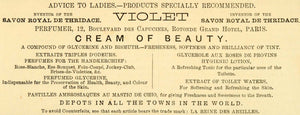 1873 Ad La Reine Des Abeilles Violet Beauty Cream Savon Royal De Thridace MX7