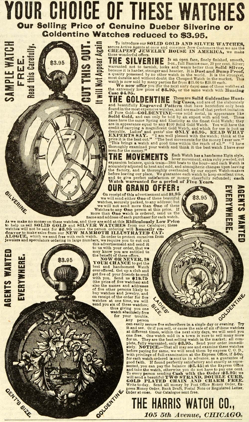 1888 Ad Harris Watch Co Chicago Goldentine Pocket Watches Silverine Jewelry MX7