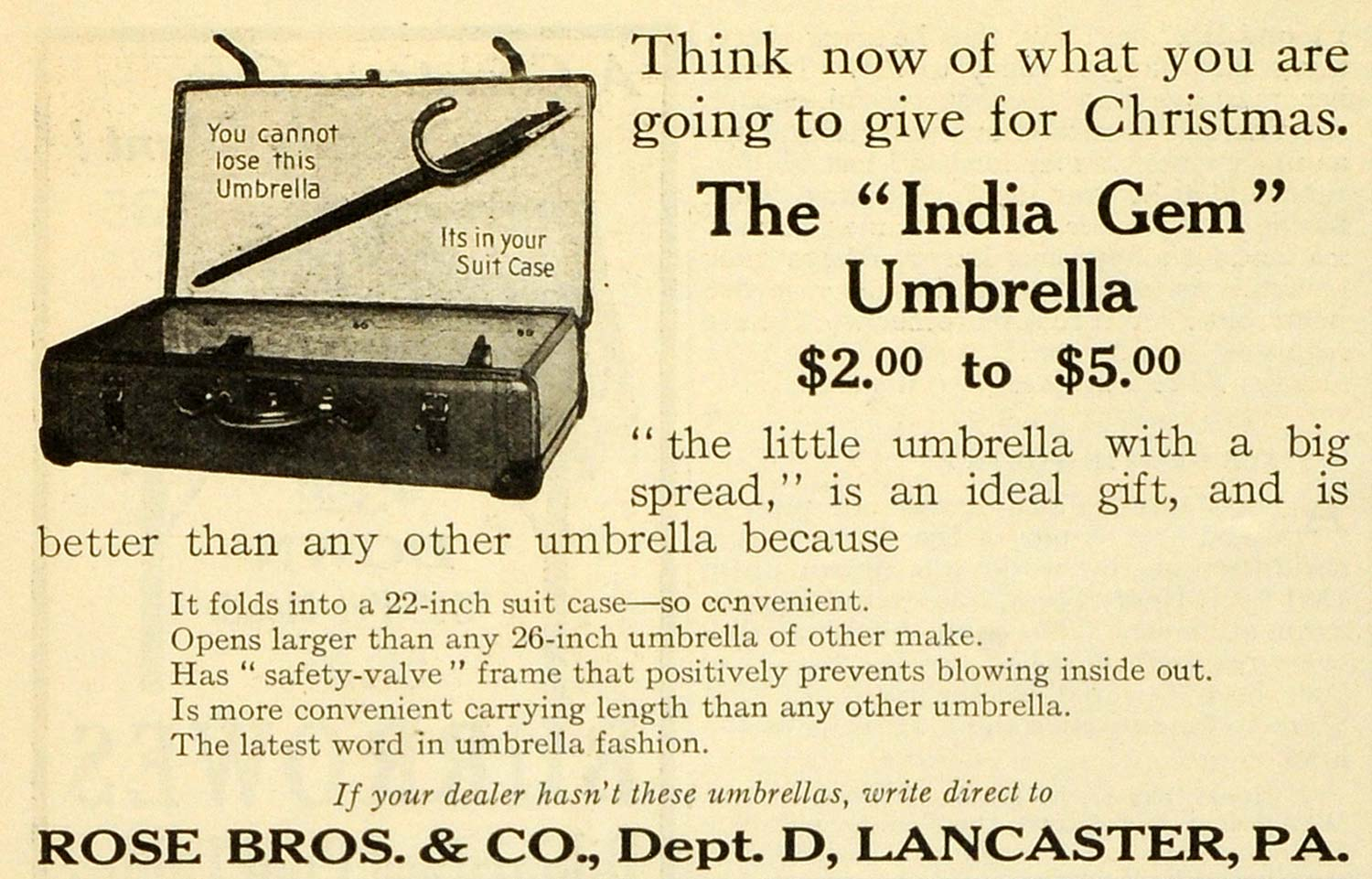 1912 Ad India Gem Collapsable Umbrella Suitcase Rose Bros Lancaster MX7