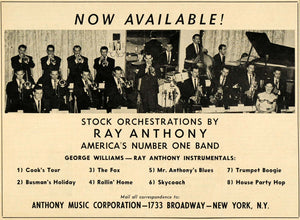 1952 Ad Ray Anthony George Williams Orchestra Records - ORIGINAL ADVERTISING MZ1