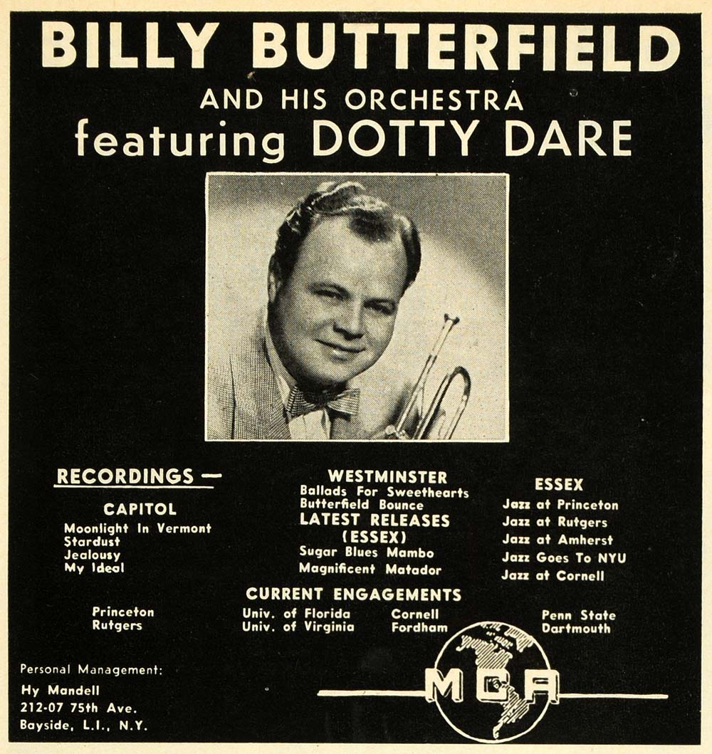 1956 Ad MCA Billy Butterfield Orchestra Dotty Dare Horn - ORIGINAL MZ1