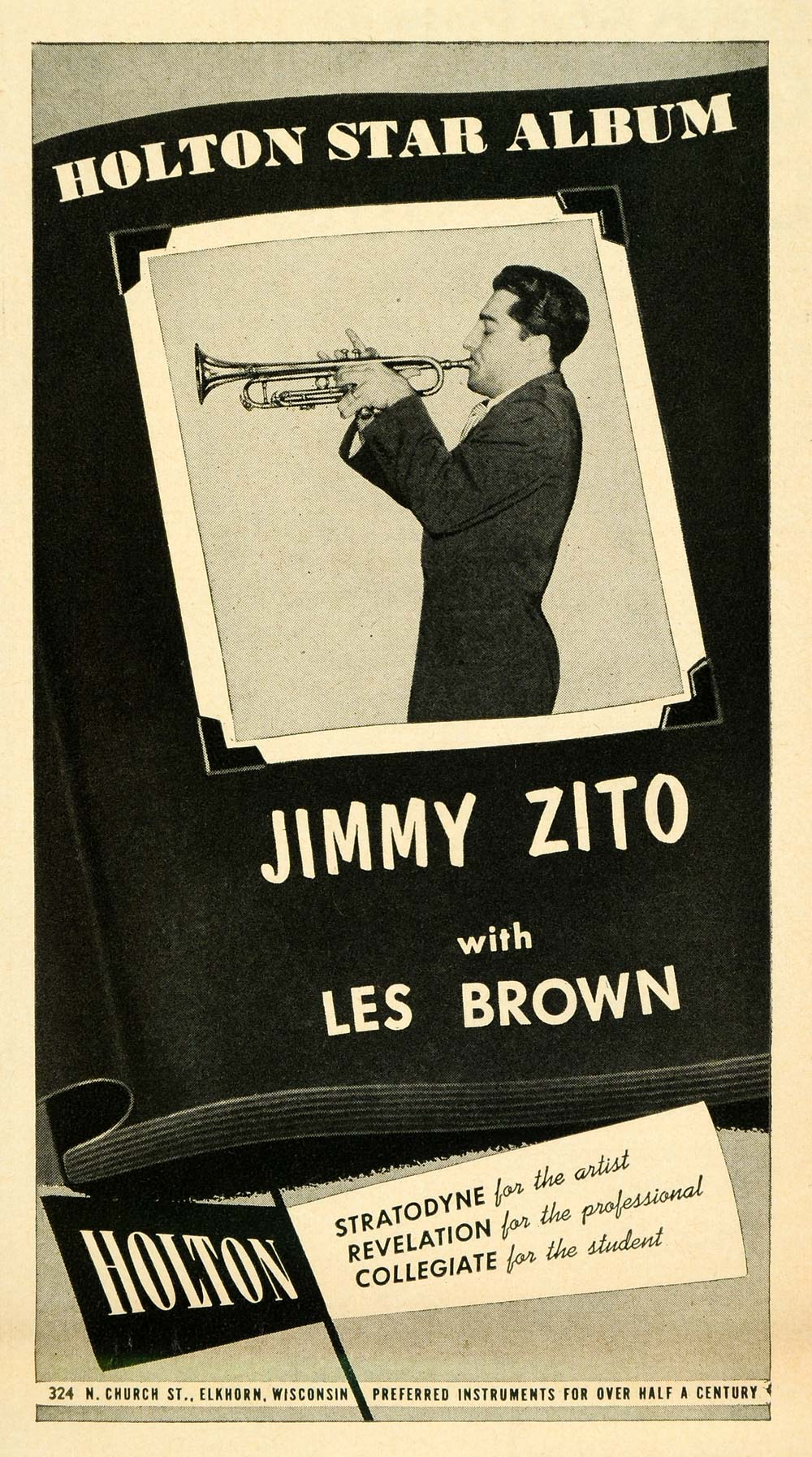 1953 Ad Holton Music Instruments Jimmy Zito Les Brown - ORIGINAL ADVERTISING MZ1
