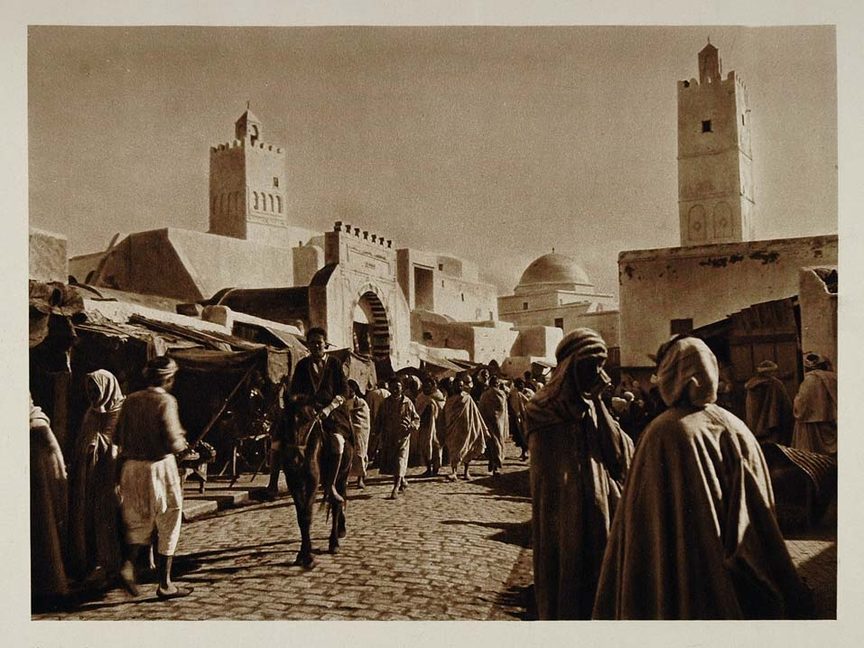 1924 People Street Kairouan Kairuan Tunisian City Print - ORIGINAL NAF1