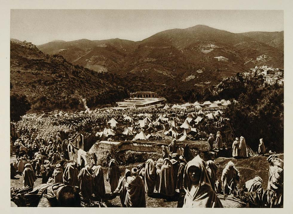 1924 Pilgrims Camp Moulay Idriss Morocco Photogravure - ORIGINAL NAF1