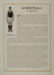 1921 Print Naval Academy Basketball Capt. Hall Watters ORIGINAL HISTORIC NAVY2