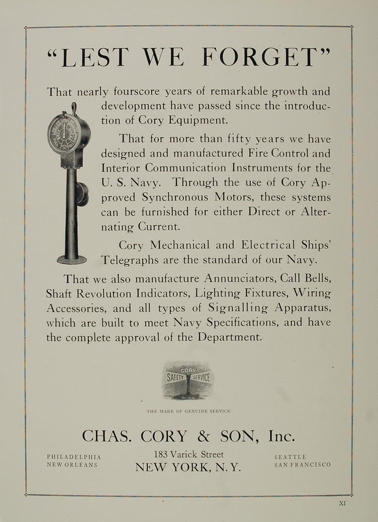 1921 Ad Cory Navy Equipment Fire Control Communication - ORIGINAL NAVY2