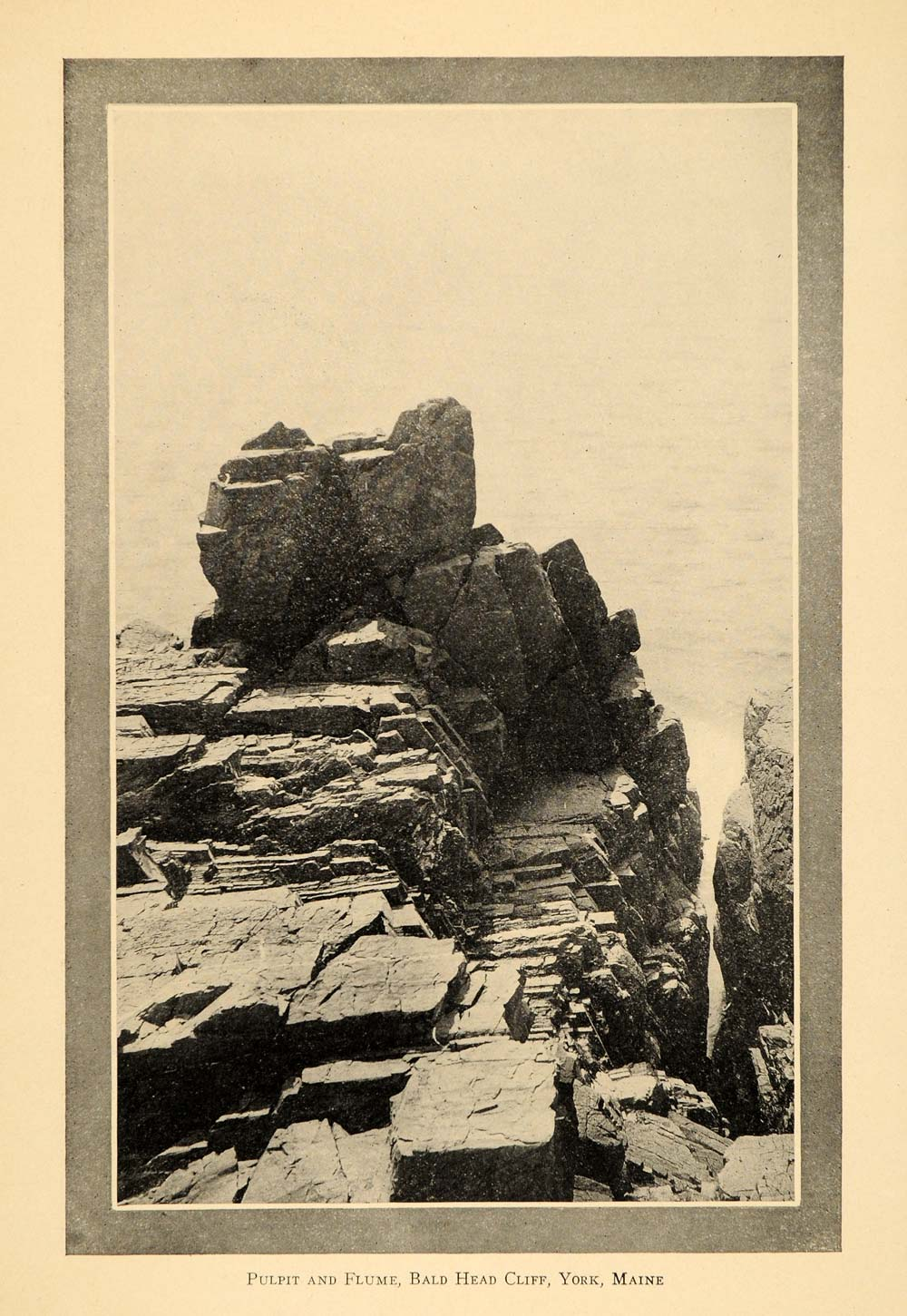1911 Print Pulpit Flume Bald Head Cliff York Maine - ORIGINAL HISTORIC NEM1