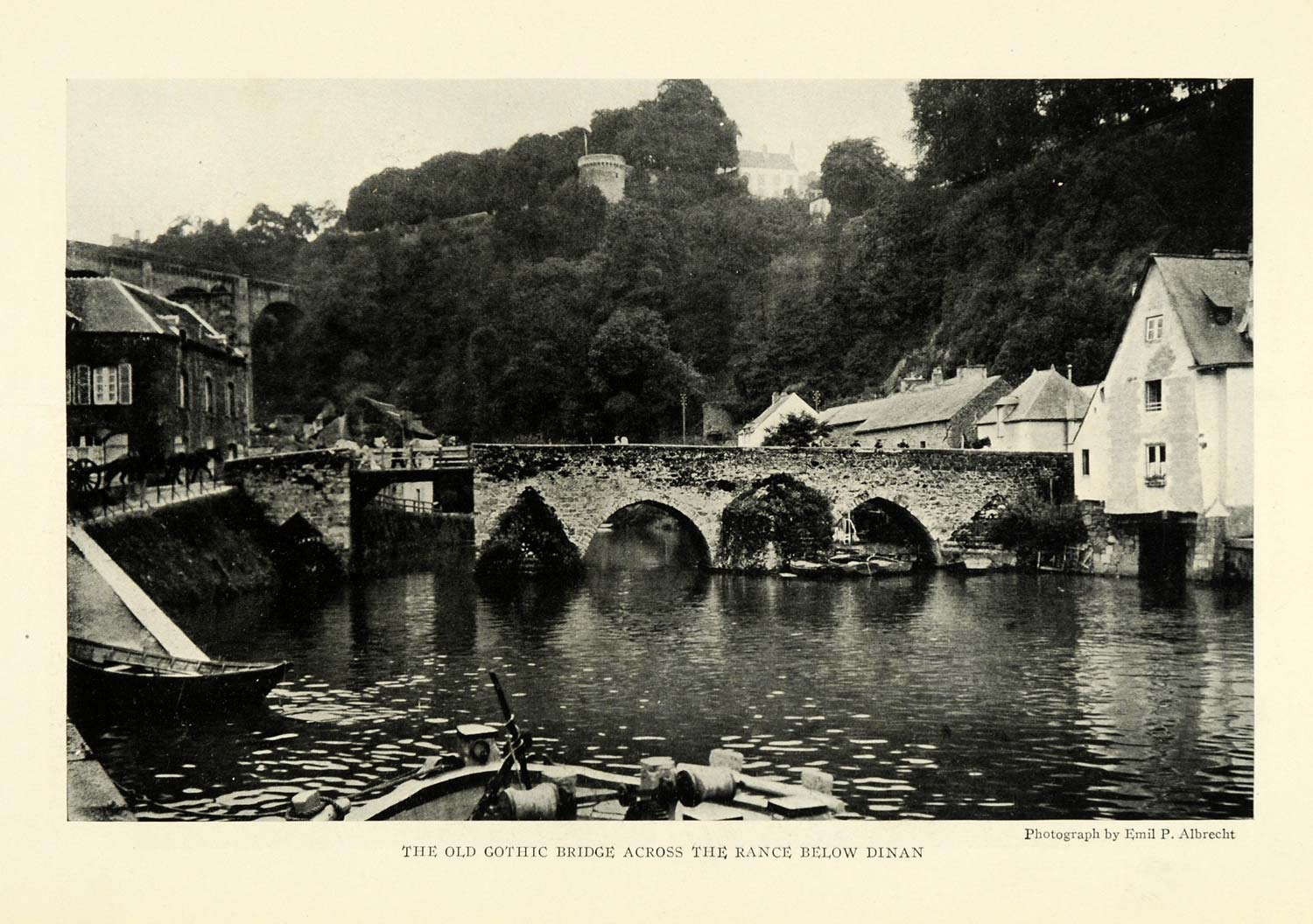 1923 Print Gothic Bridge River Rance France Dinan NGM1