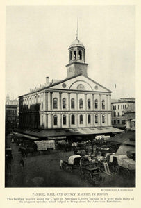 1923 Print Faneuil Hall Quincy Market Boston Massachusetts Horse Drawn NGM1