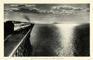 1923 Print Lucin Cutoff Railroad Bridge Train Locomotive Southern Pacific NGM1