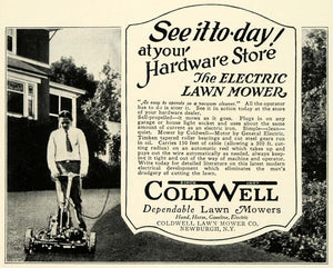 1926 Ad Antique Coldwell Power Push Electric Lawn Mowers Landscaping Tools NGM1
