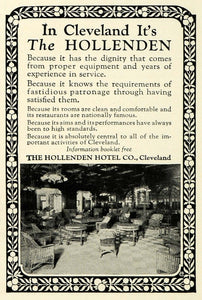 1923 Ad Hollenden Hotel Cleveland Ohio Lodging Wicker Porch Furniture NGM1