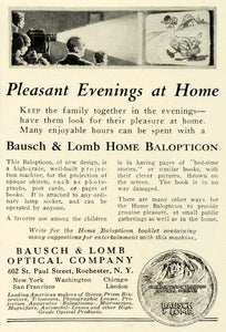 1923 Ad Bausch Lomb Optical Home Balopticon Movie Film Screen Projector NGM1