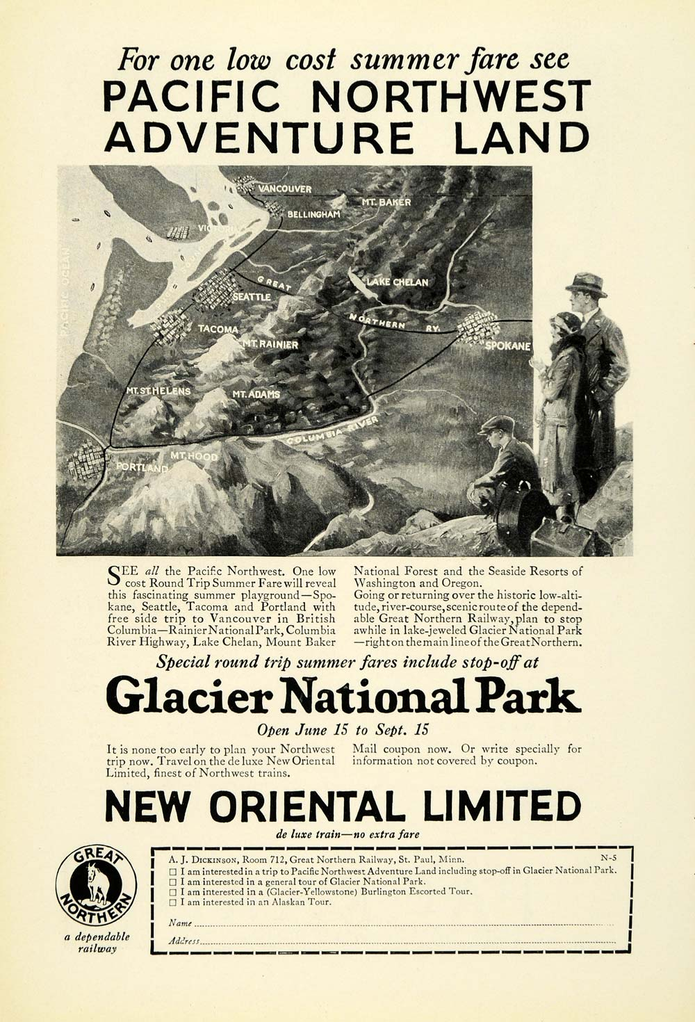 1926 Ad New Oriental Limited Train Travel Glacier National Park Great NGM1
