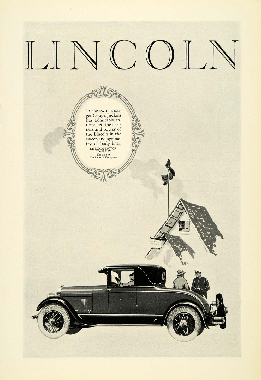 1926 Ad Antique Two Passenger Lincoln Coupe Judkins Motor Body Automobile NGM1