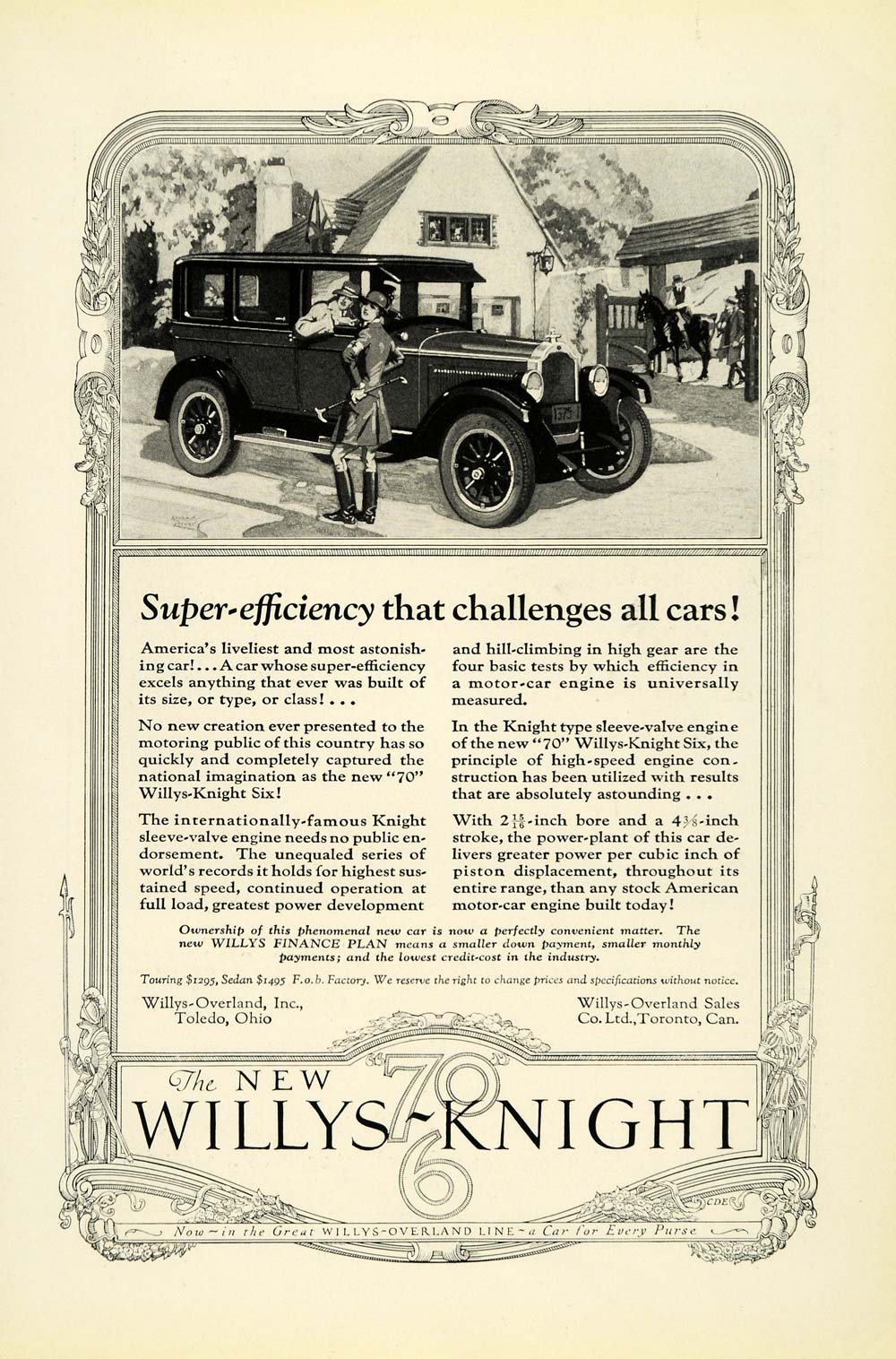 1926 Ad Antique Willys Knight 70 Six Automobile Car Horseback Riding Stable NGM1