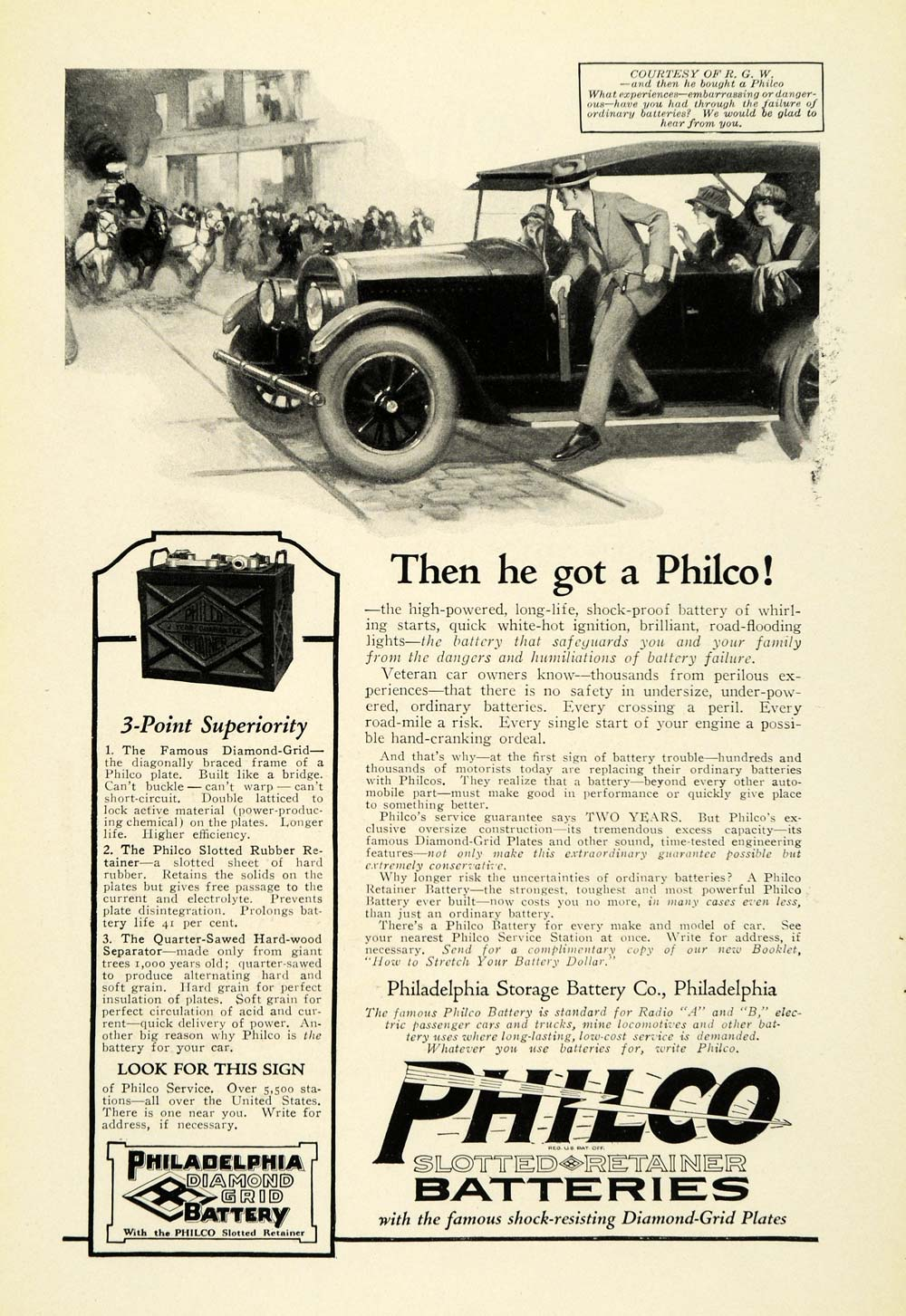 1923 Ad Philco Slotted Retainer Batteries Diamond Grid Plates Car Parts NGM1
