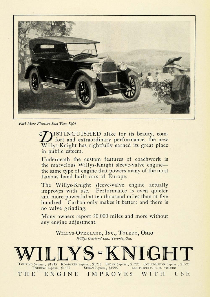 1923 Ad Antique Willys Knight Engines Convertible Automobile Car Parts NGM1