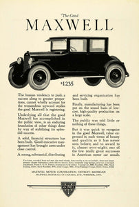 1923 Ad Antique Enclosed Maxwell Motor Car Automobile Pricing Detroit NGM1