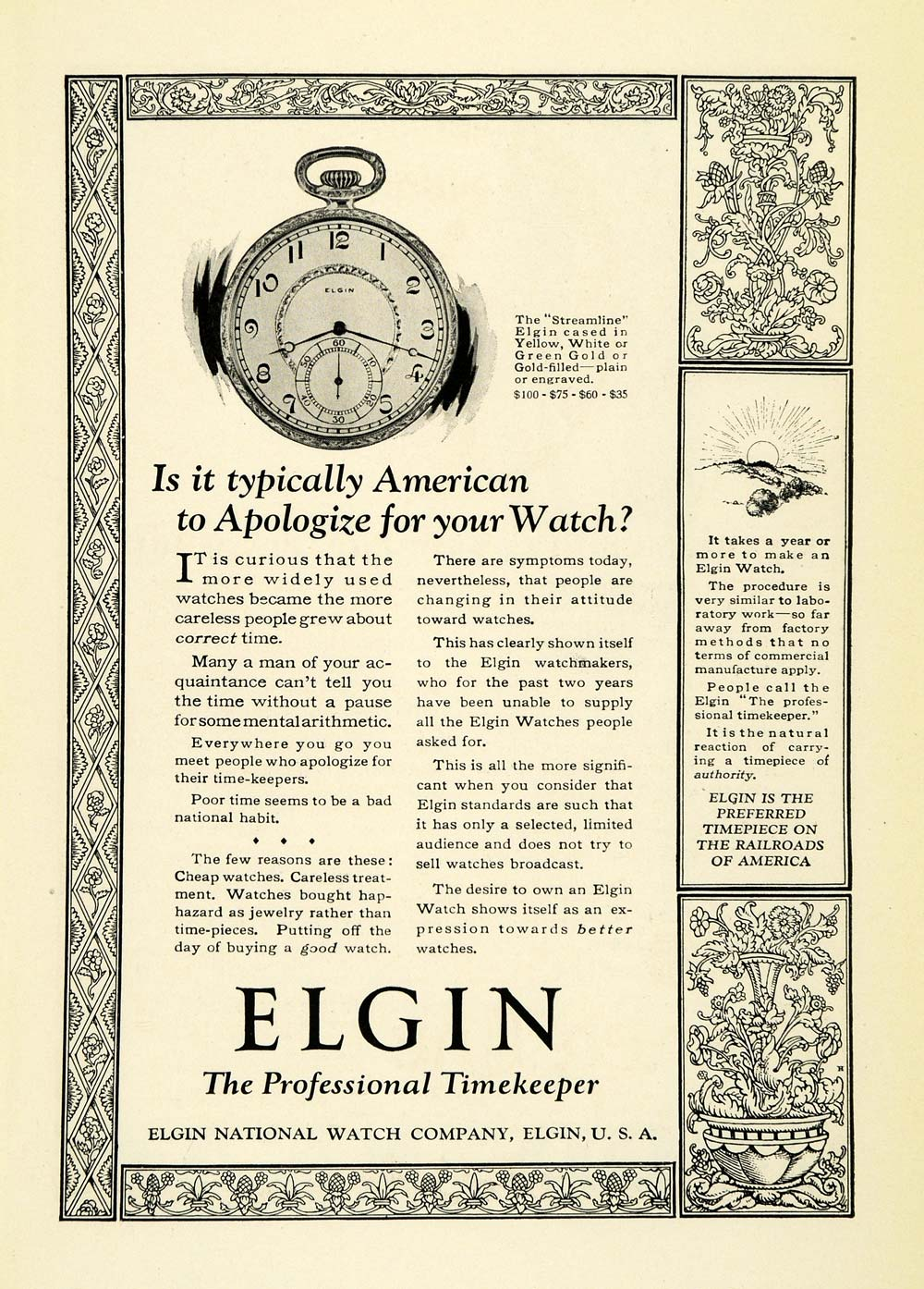 1923 Ad Antique Elgin Streamline Pocket Watch Jewelry Timepiece Accessories NGM1