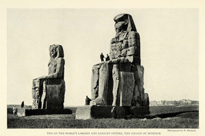 1926 Print Bechard Colossi Memnon King Pharaoh Amenhotep III Royalty Statue NGM1