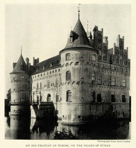 1922 Print Chateau Nyborg Funen Emil Opffer Denmark Architecture Tower NGM1