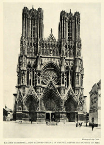 1922 Print Rheims Cathedral France Rayonnant Crete Pinnacle Tympanum Lancet NGM1