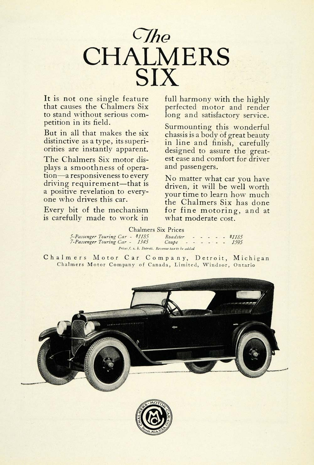 1922 Ad Chalmers Motor Car Six Logo Automobile Vintage Detroit Michigan NGM1